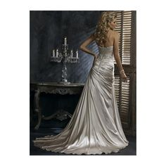 Satin Strapless Sweetheart Neckline with Asymmetrical Rouched A line Skirt and Chapel Train in Corset Closuer Informal Wedding Dress WM-0354