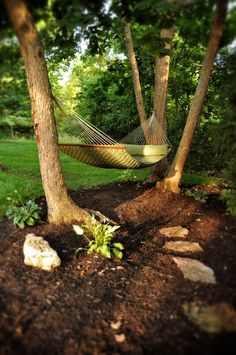 Backyard Hammock Ideas the end result is a hammock that has a nautical throwback feel its lightweight enough to carry with you on your next backpacking adventure or you can keep Backyard Hammock This Kind Of Looks Like Our Backyard Fenced In Lots Of Trees And Shade Backyard Pinterest Gardens Backyards And Backyard