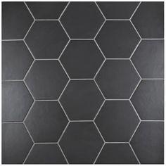Basement bathroom (favorite) Merola Tile Hexatile Matte Nero 7 in. x 8 in. Porcelain Floor and Wall Tile sq.