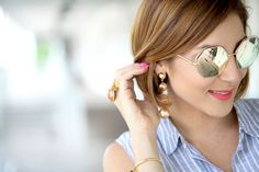 Blame it on Mei, @blameitonmei, Miami Fashion Blogger, Summer Stripe Tie Front Top with white jeans and mirrored sunglasses, Chloe Faye Crossbody, Baublebar Drop earrings in gold