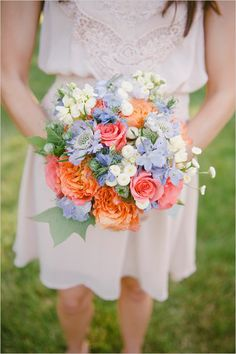 in love with this spring bridesmaid bouquet.   http://www.weddingchicks.com/2013/10/21/beauteous-backyard-wedding/