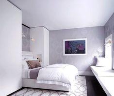 Das weiße Schlafzimmer mit Lavendel-Tapeten aufpeppen