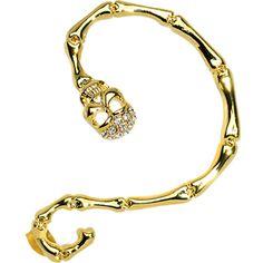 18KT Gold Plated Clear Gem Sinister Skull Snake Wrap Ear Cuff #bodycandy #cartilage #ear #cuff #snake