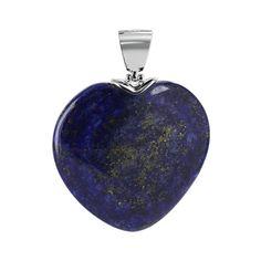 .925 Sterling Silver Blue Lapis 33mm x 35mm Heart Pendant