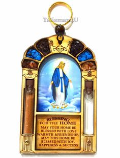 Catholic Virgin Mary Queen Of Heaven Home Blessing Wall Hanging Holy Water Soil