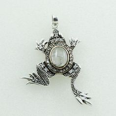 FROG SHAPED RAINBOW MOON STONE & CUBIC ZIRCONIA 925 STERLING SILVER PENDANT #SilvexImagesIndiaPvtLtd #Pendant