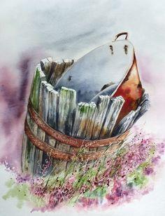la bassine aux bruyères aquarelle Anne Larose