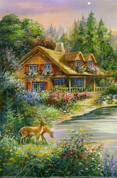 Decorate any of your room with this relaxing fall scenery. The Lakeside Cabin Counted Cross Stitch Kit features a log cabin by the side of a clear blue lake with vibrant flowers in the foreground and Counted Cross Stitch Patterns, Cross Stitch Designs, Cross Stitch Embroidery, Lakeside Cabin, Cross Stitch Landscape, Autumn Scenery, Cross Stitch Pictures, Illustrators, Crochet