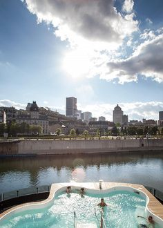 Local city guide — Montreal. Old Port : Bota Bota Spa. (What we love : take a rest day at this innovative floating spa overlooking the beautiful Old Port) (Ce qu'on aime : prendre une journée détente sur ce spa unique flottant avec vue sur le Vieux-Port.)