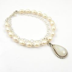 White bridal bracelet, datachable charm bracelet, pearl wedding jewelry, gemstone jewelry, metalwork jewelry, sterling silver charm