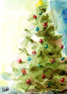 5 x 7 Weihnachtsbaum Holiday Print aus von CorinneGallaStudios
