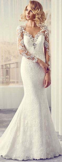 $153.89-V-Neck Maxi  Appliqued Lace Trumpet Wedding Dress With Long-Sleeves.  http://www.ucenterdress.com/v-neck-maxi-long-sleeve-appliqued-lace-wedding-dress-with-sweep-train-and-illusion-pMK_705774.html.  Free Custom-made & Free Shipping! Shop lace wedding dress, strapless wedding dress, backless wedding dress, with sleeves, mermaid wedding dress, plus size wedding dress, We have great 2016 best Wedding Dresses on sale at #UcenterDress.com today! #wedding #dress