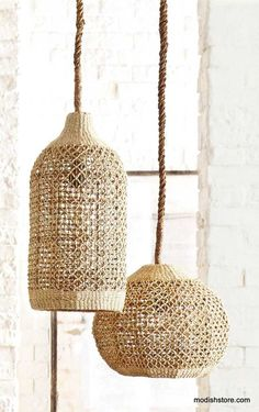 ROOST ABACA WOVEN PENDANTS - Abaca is a durable and flexible fiber that has a lovely natural color and can be used to create finely detailed woven patterns such as those in our Roost's shapely pendant lamps. Rattan Pendant Light, Diy Pendant Light, Pendant Lamps, Tropical Pendant Lighting, Rattan Lampe, Lampe Crochet, Lampe Art Deco, Basket Lighting, Home Decor Online
