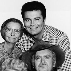 """became famous playing Jethro Bodine Clampett on the TV series """"The Beverly Hillbillies."""" Irene Ryan, Granny, Buddy Ebsen as Jed Clampett, and Donna Douglas as Ellie May. Max Baer, Donna Douglas, Buddy Ebsen, The Beverly Hillbillies, 60s Tv, Classic Tv, Classic Movies, Jethro, Comedy Tv"""