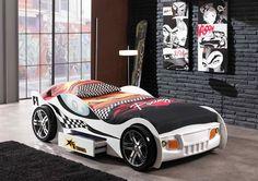 Łóżko dla chłopca Auto Samochód Wyścigowy Biały http://dladziecka-net.pl/