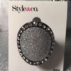 Style and Co glitter stretch ring Size: Stretch to Fit Main Color: Hematite-Tone, Silver-Tone, Clear Material: Mixed Metals, Glitter, Pave Glass Crystals Style & Co Jewelry Rings