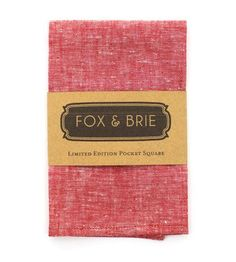 Red Chambray Pocket Square by Fox & Brie
