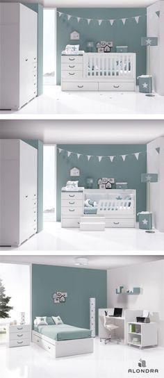 Cunas convertibles SERO JOY de Alondra, con toda la decoración infantil y texti. Baby Boy Rooms, Baby Bedroom, Baby Cribs, Kids Bedroom, Baby Nursery Decor, Baby Decor, Nursery Room, Baby Room Design, Convertible Crib
