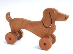 Wooden toy Dachshund. A Push Toy for Kids by LignumArt on Etsy