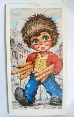 """✪ Michel T. """"Junge mit Baguette"""" Vintagebild  ✪ von Camden-Market auf DaWanda.com"""