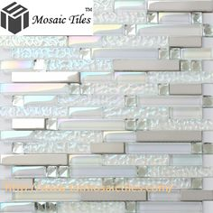 TST Glass Metal Tile Iridescent White Glass Silver Mirror Stainless Steel Blends Interlocking http://www.tstmosaictiles.com/index.php?route=product/product&product_id=452