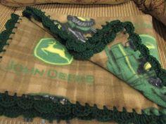 John Deere Fleece Brown Green Boy Baby Blanket With Bright Green Shell Crochet Edge by UnhungHarps on Etsy