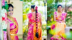 South Indian bride. Temple jewelry. Jhumkis.Orange and pink silk kanchipuram sari with contrast blouse.Braid with fresh flowers. Tamil bride. Telugu bride. Kannada bride. Hindu bride. Malayalee bride.
