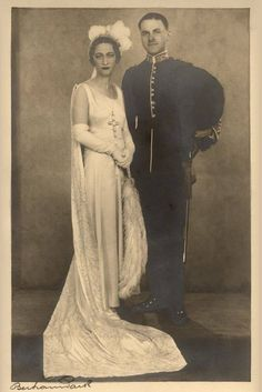 Wallis with her second husband Ernest Simpson in court dress