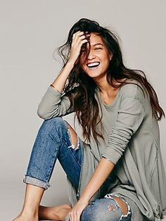 I love the top and kind of hate the jeans, which are ripped beyond the cute ripped jeans look. Free People We The Free Wonder Woman Top