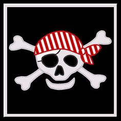 Pirate Skull 3 With Bandanna Applique Design by AppliquesAnonymous,