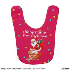 Baby's First Christmas...Santa On Red Background Baby's Bib