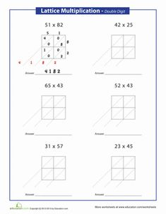 Multiplication Worksheet -- Lattice Multiplication -- Three-digit ...