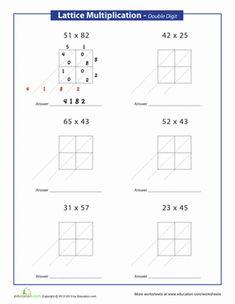 Lattice Multiplication | Worksheet | Education.com