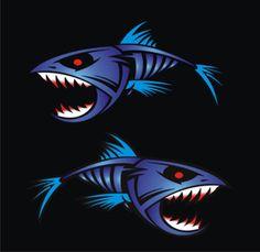 fish decals   Blue Piranha Boat Graphics Stickers Fishing Decals   eBay