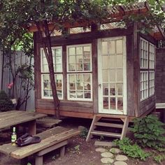 A backyard painting studio in Williamsburg.