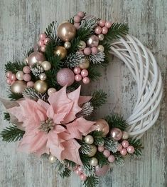 Learn How To Make This Simple Christmas Wreath Time To Halls . Learn how to make this simple Christmas wreath, time to decorate the halls and . Christmas Wreaths To Make, Pink Christmas, Holiday Wreaths, Simple Christmas, Christmas Crafts, Christmas Ornaments, Elegant Christmas, Crochet Christmas, How To Make Wreaths