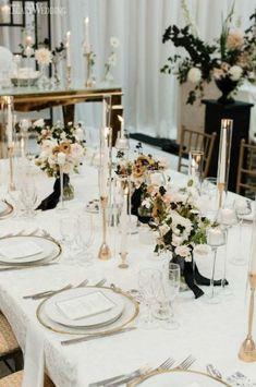 Modern Black and White Wedding Organic Wedding Table Setting, Gold Wedding Table Decor, Modern Black … Black And White Wedding Theme, Gold Wedding Theme, White Wedding Flowers, Modern Wedding Theme, Dream Wedding, White Weddings, Wedding Dinner, Wedding Tables, Wedding Receptions