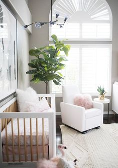 Kailee-Wright_Nursery - a white and pink nursery for a baby girl featuring the Grano Glider Recliner from Monte Design.