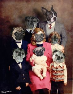 The Terrier-Pug Family - Worth1000 Contests. By bytesized 9th place entry in Family Fauxto. Anthropomorphic digital dogs art.