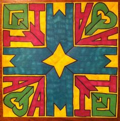 Kaleidoscope Name Art.  Served as an art lesson at school.