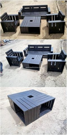 Wooden Pallet Furniture This image will make you show out the brilliant creation of the wood pallet outdoor furniture where the incorporative taste of the table and benches are placed over it.