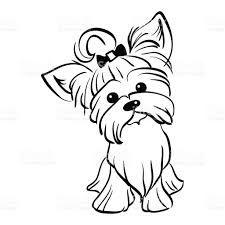 Vetor Desenho Engraçado Yorkshire Terrier Cachorro Sentado ...