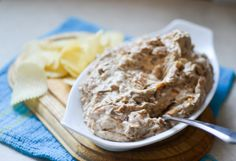 Onion Dip | A classic sour cream and onion dip recipe made with caramelized onions. Perfect with chips!