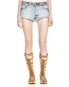 Free People Eliot Embroidered Denim Shorts in Vibe Blue
