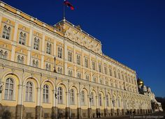 The Kremlin palace inside the red walls where president putin lives and works