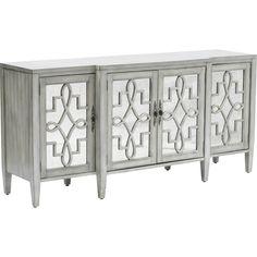 Credenza 4 Door Mirror Facing, Grey - Furniture - Storage - Dining  - Dining - Storage - Mirrored Furniture - Best Sellers