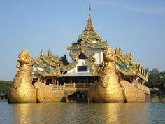 Karaweik floating restaurant in Yangon, Myanmar (burma)