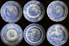 Spode Blue and White Plates Set of 6 by SongSparrowTreasures, $85.00