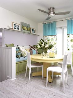 I like the soft yellow table with the white chairs for an eat in kitchen. Add a little color and is cheerful.