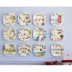Rosanna 12 Days Of Christmas Appetizer Plates (Set of 12)